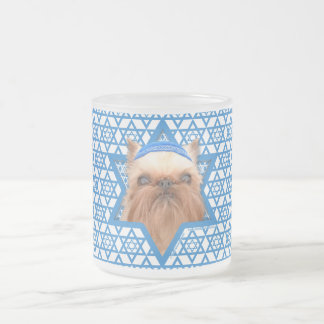 Hanukkah Star of David - Brussels Griffon Frosted Glass Coffee Mug