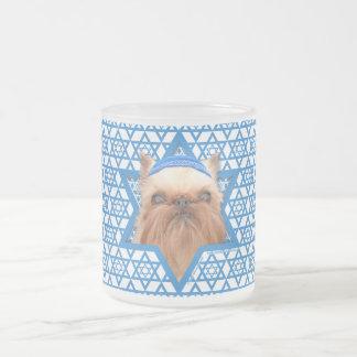 Hanukkah Star of David - Brussels Griffon Frosted Glass Coffee Mug
