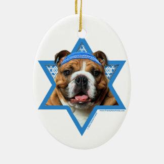 Hanukkah Star of David - Bulldog Ceramic Ornament