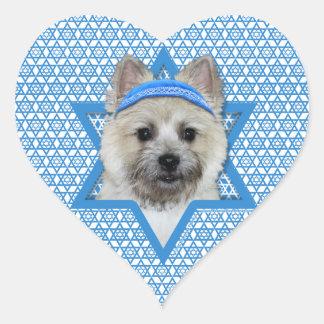 Hanukkah Star of David - Cairn Terrier  Teddy Bear Heart Sticker