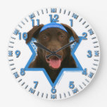 Hanukkah Star of David - Chocolate Labrador Wall Clocks