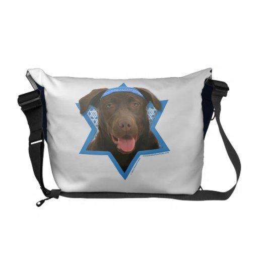 Hanukkah Star of David - Chocolate Labrador Messenger Bags