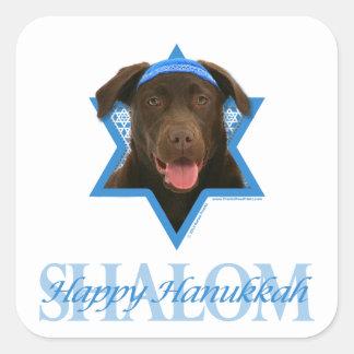 Hanukkah Star of David - Chocolate Labrador Square Sticker