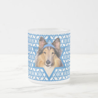 Hanukkah Star of David - Collie Frosted Glass Coffee Mug