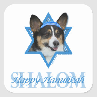 Hanukkah Star of David - Corgi Square Sticker