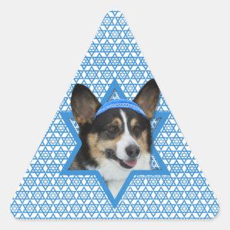 Hanukkah Star of David - Corgi Triangle Sticker