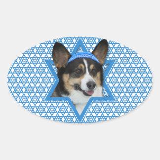 Hanukkah Star of David - Corgi Oval Sticker