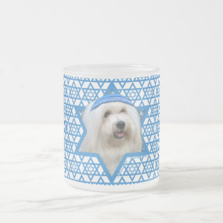 Hanukkah Star of David - Coton de Tulear Frosted Glass Coffee Mug