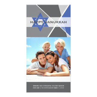 Hanukkah Star Of David Criss Cross Photo Greetings Card