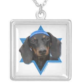 Hanukkah Star of David - Dachshund - Winston Square Pendant Necklace