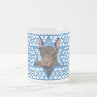 Hanukkah Star of David - Doberman - Rocky 10 Oz Frosted Glass Coffee Mug