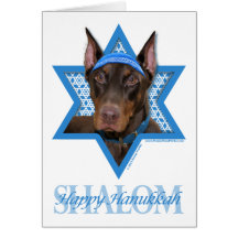 Hanukkah Star of David - Doberman - Rocky Greeting Cards