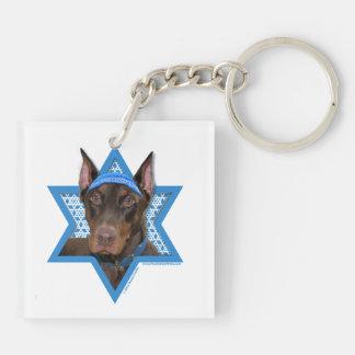 Hanukkah Star of David - Doberman - Rocky Double-Sided Square Acrylic Keychain