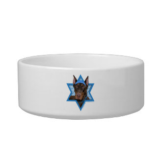 Hanukkah Star of David - Doberman - Rocky Pet Water Bowl