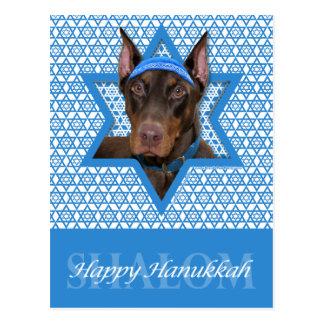 Hanukkah Star of David - Doberman - Rocky Postcard