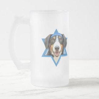 Hanukkah Star of David - Entlebucher Mountain Dog Frosted Glass Beer Mug