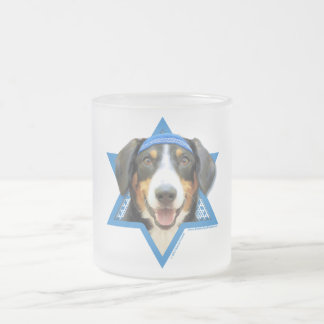 Hanukkah Star of David - Entlebucher Mountain Dog Frosted Glass Coffee Mug