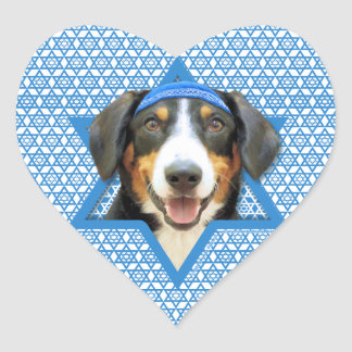 Hanukkah Star of David - Entlebucher Mountain Dog Heart Sticker