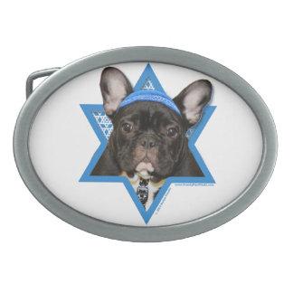Hanukkah Star of David - French Bulldog - Teal Oval Belt Buckle
