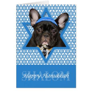 Hanukkah Star of David - French Bulldog - Teal Cards