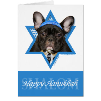 Hanukkah Star of David - French Bulldog - Teal Card