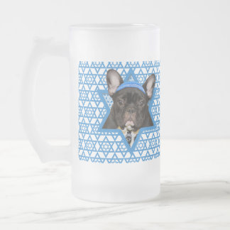 Hanukkah Star of David - French Bulldog - Teal Frosted Glass Beer Mug