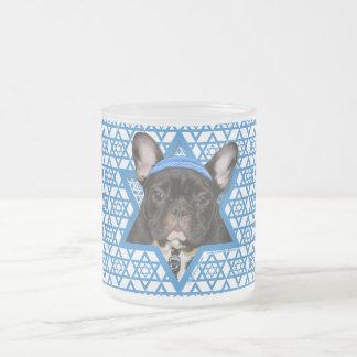 Hanukkah Star of David - French Bulldog - Teal Frosted Glass Coffee Mug