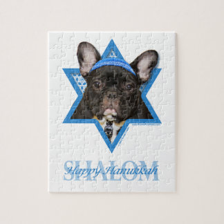 Hanukkah Star of David - French Bulldog - Teal Jigsaw Puzzle