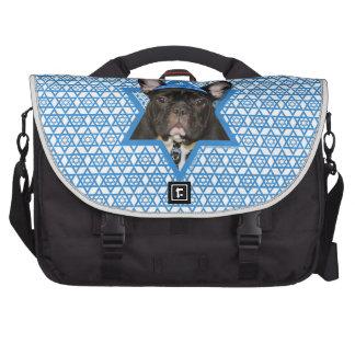 Hanukkah Star of David - French Bulldog - Teal Laptop Commuter Bag
