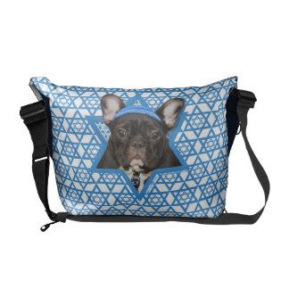 Hanukkah Star of David - French Bulldog - Teal Messenger Bag