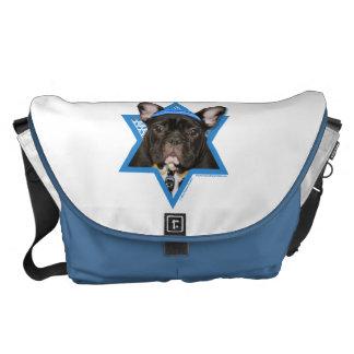 Hanukkah Star of David - French Bulldog - Teal Courier Bags