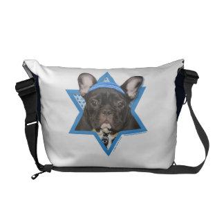 Hanukkah Star of David - French Bulldog - Teal Messenger Bags