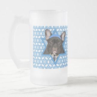 Hanukkah Star of David - French Bulldog - Teal 16 Oz Frosted Glass Beer Mug
