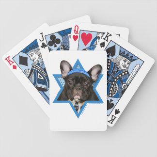 Hanukkah Star of David - French Bulldog - Teal Bicycle Playing Cards