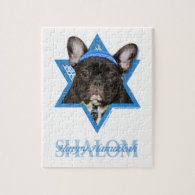 Hanukkah Star of David - French Bulldog - Teal Jigsaw Puzzles