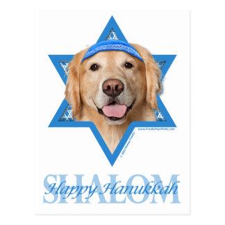 Hanukkah Star of David - Golden Retriever - Corona Postcard