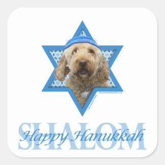 Hanukkah Star of David - GoldenDoodle Square Sticker