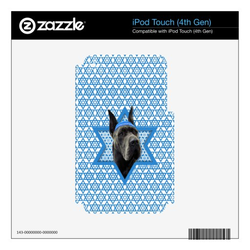 Hanukkah Star of David - Great Dane - Grey Decals For iPod Touch 4G