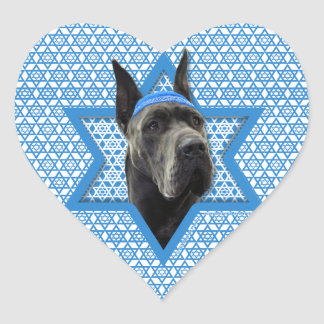 Hanukkah Star of David - Great Dane - Grey Heart Sticker
