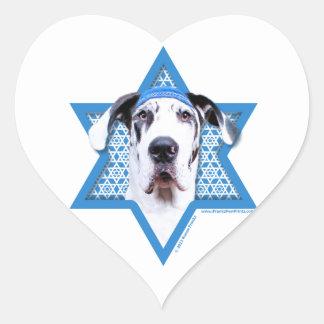 Hanukkah Star of David - Great Dane - Harlequin Heart Sticker