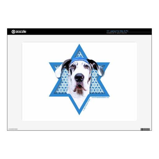 """Hanukkah Star of David - Great Dane - Harlequin Decals For 15"""" Laptops"""