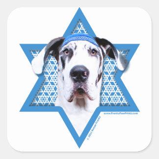 Hanukkah Star of David - Great Dane - Harlequin Square Sticker