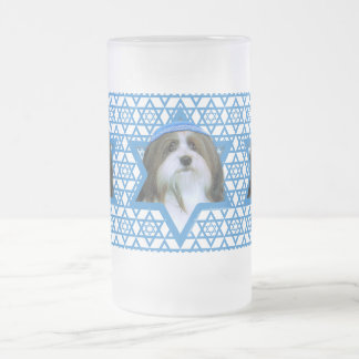 Hanukkah Star of David - Havanese Frosted Glass Beer Mug