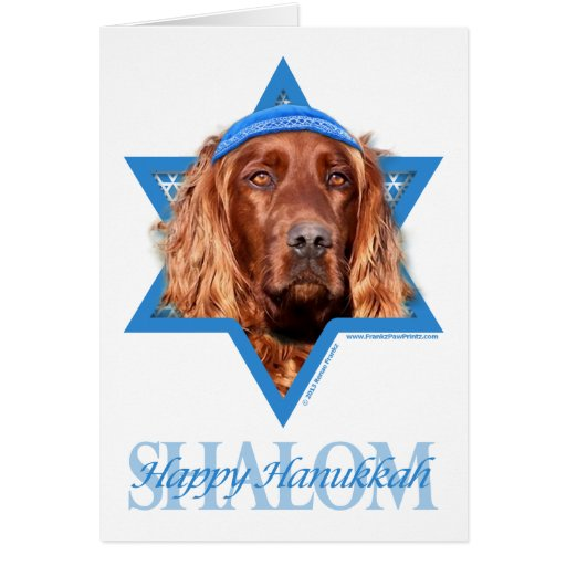 Hanukkah Star of David - Irish Setter Greeting Card