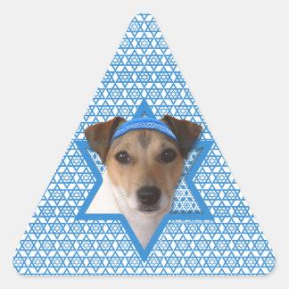 Hanukkah Star of David - Jack Russell Terrier Triangle Stickers