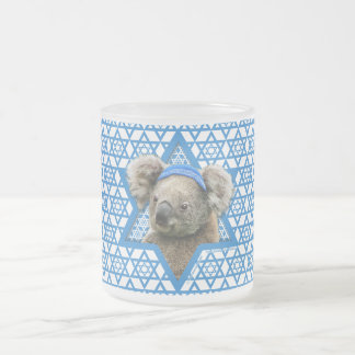 Hanukkah Star of David - Koala Bear Frosted Glass Coffee Mug