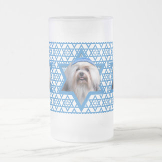 Hanukkah Star of David - Lowchen Frosted Glass Beer Mug