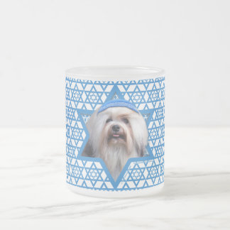 Hanukkah Star of David - Lowchen Frosted Glass Coffee Mug