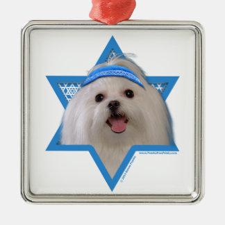 Hanukkah Star of David - Maltese Square Metal Christmas Ornament