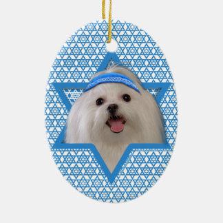 Hanukkah Star of David - Maltese Double-Sided Oval Ceramic Christmas Ornament